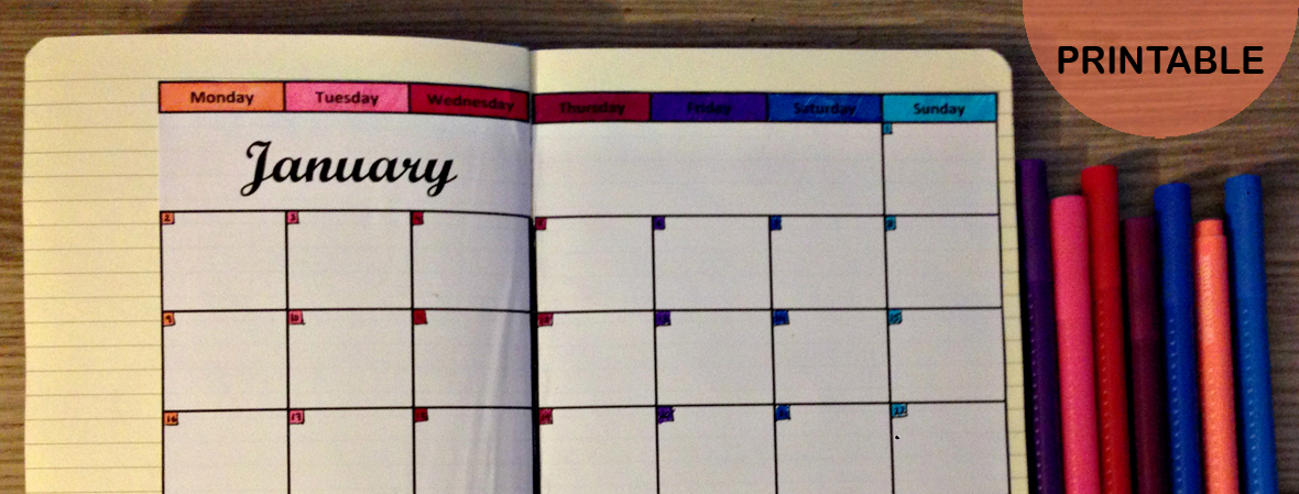 graphic relating to Bullet Journal Calendar Printable named Do-it-yourself Calendar For Your Bullet Magazine Printables