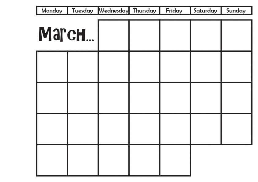 graphic about Bullet Journal Symbols Printable called March Calendar 2017 for Your Bullet Magazine!