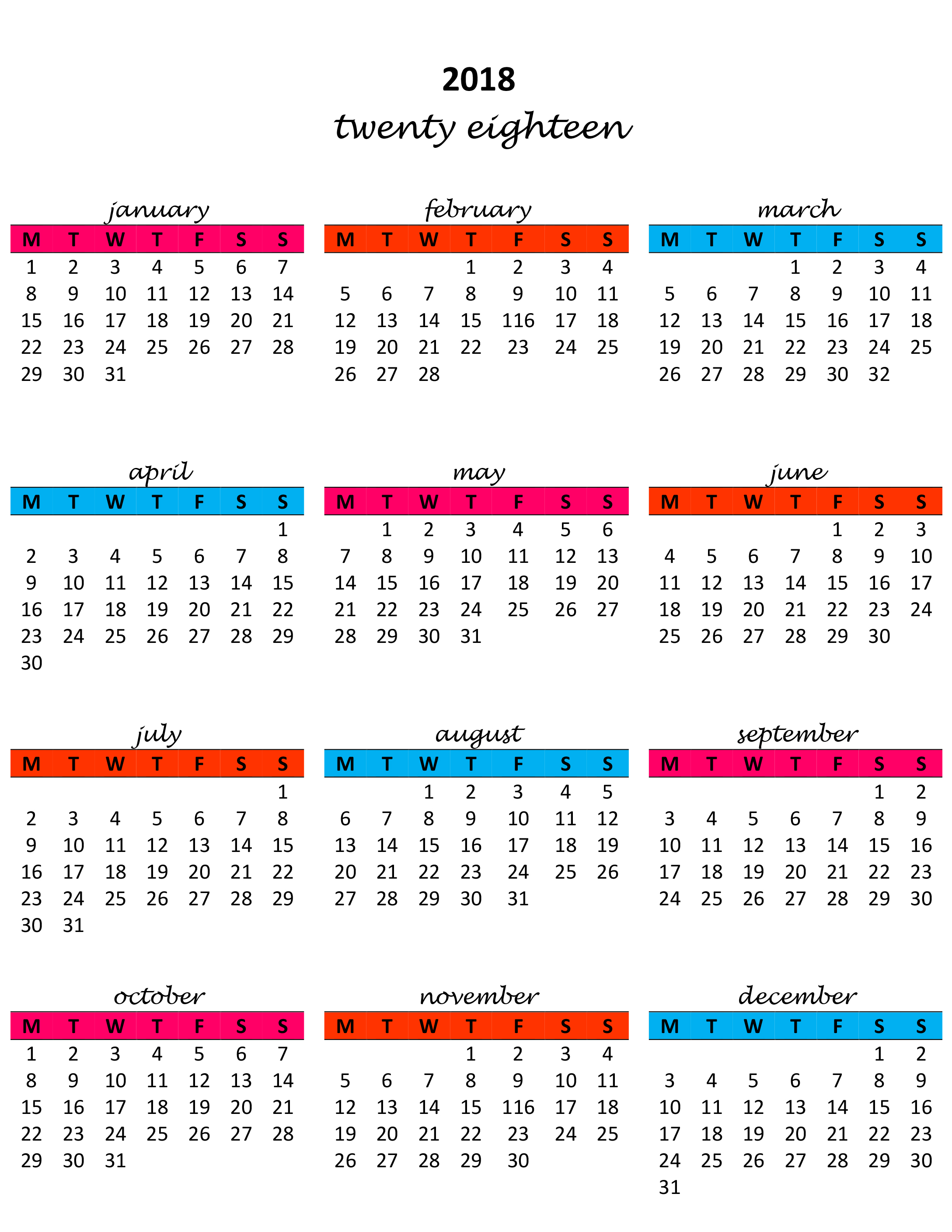 yearly calendar of events