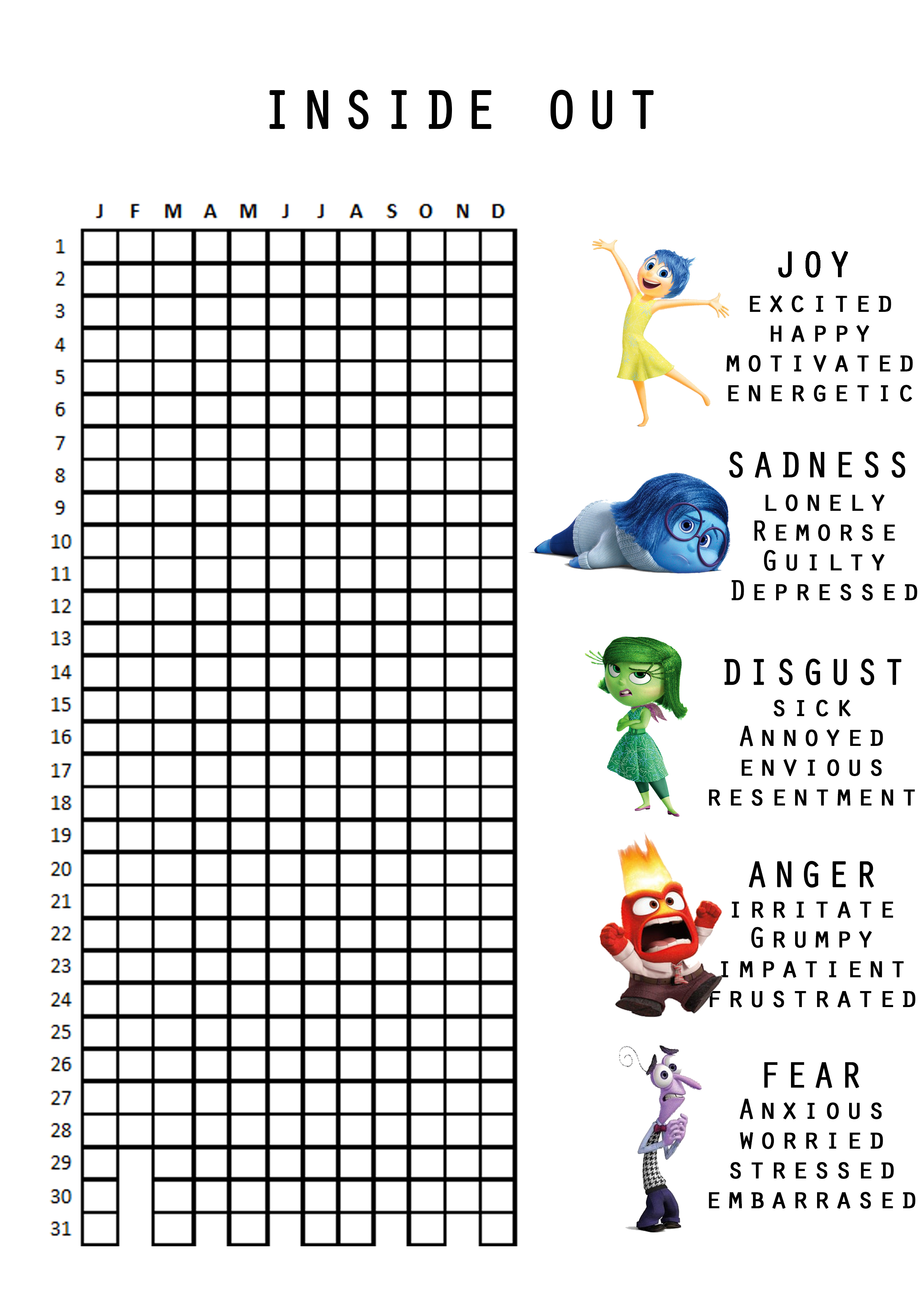image relating to Printable Mood Tracker identified as In Out: On a yearly basis Temper Tracker